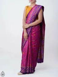 Soft Silk Fabric Unnati silks Rajkot Patola Soft Silk Saree, 610 MTR (Inclusive of Blouse)., With Blouse Piece
