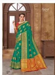 Party Wear Designer Silk Jari Border Saree