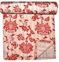 Lotus Printed Cotton Kantha Bed Cover