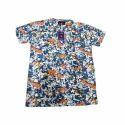 Cotton Multicolor Round Neck T Shirt, Size: S-xl