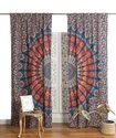 Indian Hippie Bohemian Beautiful Peacock Mandala Curtain Panels Blue Multi
