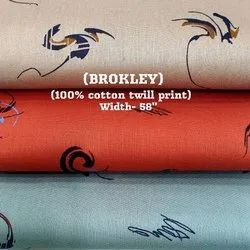 Brokley 100% Cotton Twill Print Shirting Fabrics