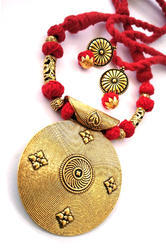 Red Threaded Necklace with Round Big Pendant