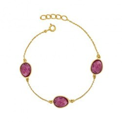 925 Sterling Silver Pink Tourmaline Micron Gold Plated Gemstone Chain Bracelet