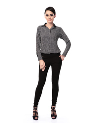 Black Checkered Shirt Top