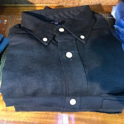 Plain Blue Cotton Casual Shirt