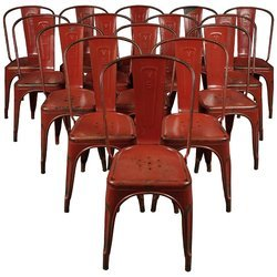 Red Powder Coated Kernig Krafts Metal Stackable Cafe Restaurant Chair, Size: 17 Sitting Height