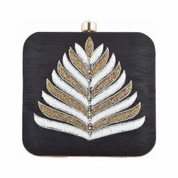 Azzra Designer Black Zardosi Work Clutch