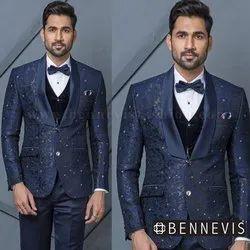 Blue Jacquard Mens Suit
