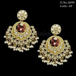 Fusion Traditional Meenakari Kundan Peacock Earring