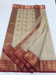 Printed Party Wear Chanderi Silk Saree, With Blouse Piece