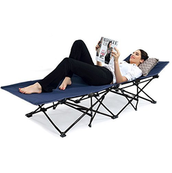 Blue Portable Folding Camping Bed Beach Bed With Carry Bag Outdoor