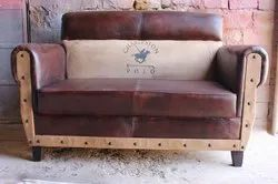 Antique Brown Chester Field Leather Sofa for Hotel