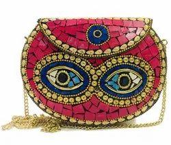 Mosiac Handmade Red Eye Designs Evening Metal Clutch Bags For Fashion, Size: 19.5x14.5 X4cm