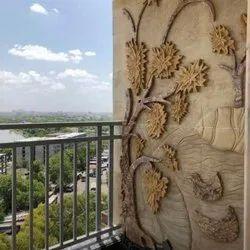 Carved Polished Bedroom Mural Art, For Flooring, Honed