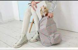 Gray Nylon Printed Coaching Bag