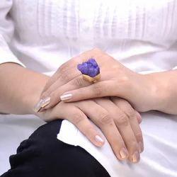 Gold Plated Titanium Druzy Gemstone Handmade Ring