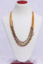 Casual Wear Hr-417 7 Line Black Color Pearl Mala Necklace