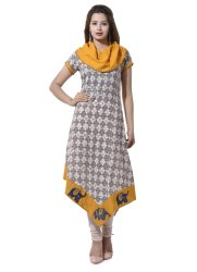 Yash Gallery Women's Patch Work Cotton Asymmetric Kurta