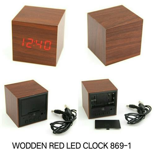 Wooden Led Clock Digital Square Cube Wood Style Red Led Alarm