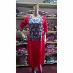 Cotton Casual Wear Printed Straight Kurti