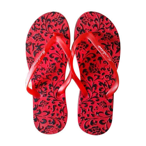 05095b57abbb Ladies PU Red And Black Printed Flip Flop
