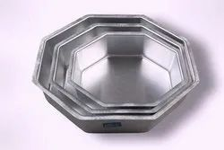 Rolex Silver Octagon Cake Pans, Inside Outside Finish: Coated