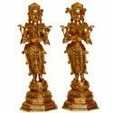 Brass Metal Made Deep Lakshmi Pair Statue Standing Welcome Lady Pair Statue