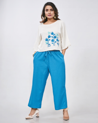 Casual 3/4th Sleeve Cotton Flex Plain Short Top With Pant Kurti
