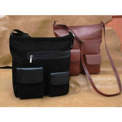 K Designs Black and Brown Traditional Sling Bag