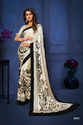 Black And Beige Color Satin Silk Saree