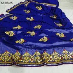 Khatushyam Creation Patch Border Work Chiffon Sarees, With Blouse Piece