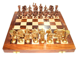 Chess Set Brass Sculpted Pieces in Ancient Roman Style 10404