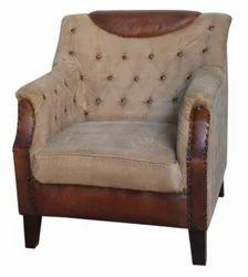 Leather Canvas Sofa