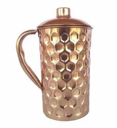 Diamond Shaped Copper Jug With Lid Height-9 Inches, Packaging Type: Box