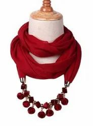 Devin La Long Bead Necklace Fashionable, Party-Ware Scarf / Stole - Maroon Red (Dlst-4s00028sf)