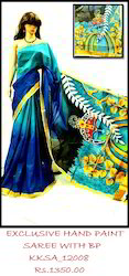 Blue 6.3 Hand Paint Cotton Saree Ethnic Designs And Vivid Colors