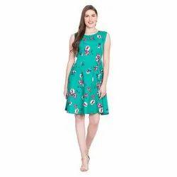 Crepe Sleeveless Ladies Sea Green Floral Printed Short Dress, Size: S - XXL