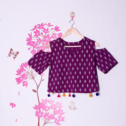 Crop Top in Printed Cotton with Pom Pom Lace