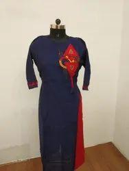 Angel Creation Ladies Straight Long Kurti, Handwash, 100 - 150