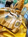 Block Printed Zari Border Tussar Silk Sarees