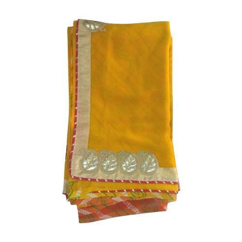 5f776f6ecd Ladies Georgette Yellow Gota Work Border Saree, Size: 6.5 M, Rs 1050 ...