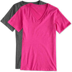 Cotton Ladies Half Sleeve V Neck Plain T Shirt, Size: XL