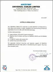 Letter of Appriciation from Universal Cable Limited
