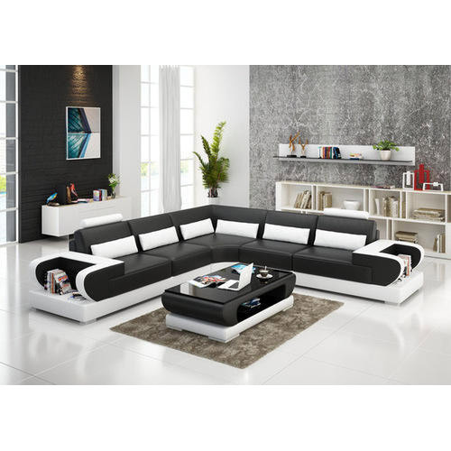 Black And White Teak Wood L Shape Modern Sofa Set, Warranty: 1 Year ...