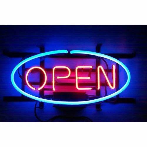 Open Neon Sign Board