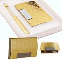 Golden Card Holder & Pen Set