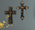 2 Piece Set Of Stacked Crosses In Black And Gold