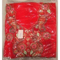 Ladies Red Unstitched Designer Suit