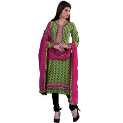 Green & Black Colored Unstitched Casual Salwar Suit